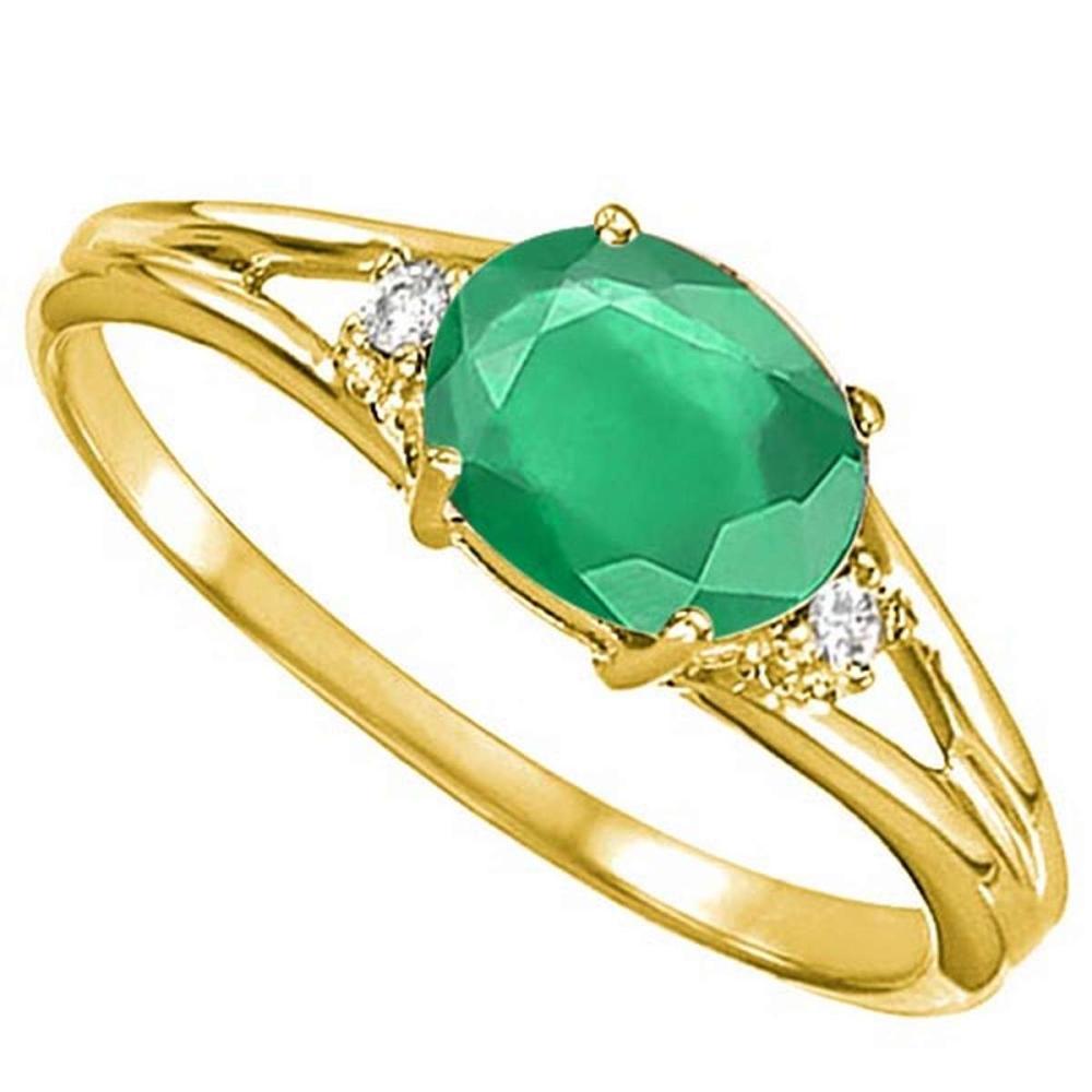0.43 CARAT EMERALD & 0.02 CTW DIAMOND 10KT SOLID YELLOW GOLD RING #IRS76961
