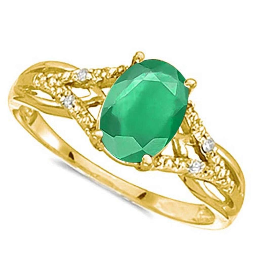 Lot 9114085: 0.65 CARAT EMERALD & 0.04 CTW DIAMOND 14KT SOLID YELLOW GOLD RING #IRS76919
