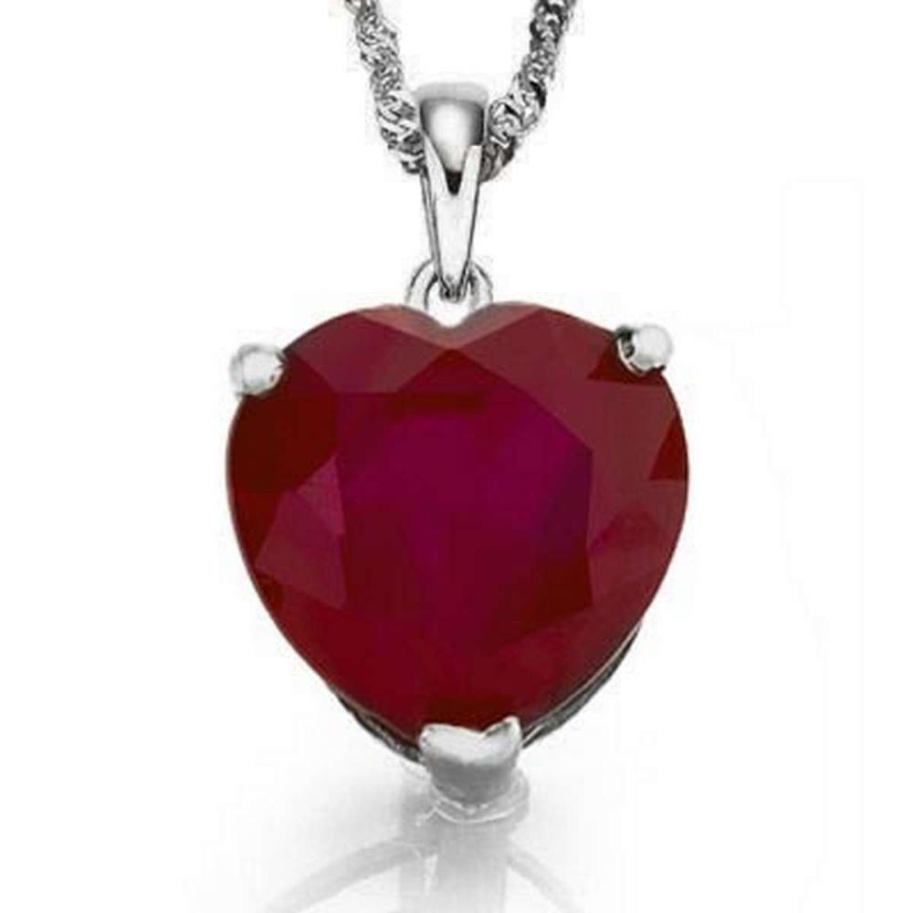 0.9 CTW RUBY 10K SOLID WHITE GOLD HEART SHAPE PENDANT #IRS36898