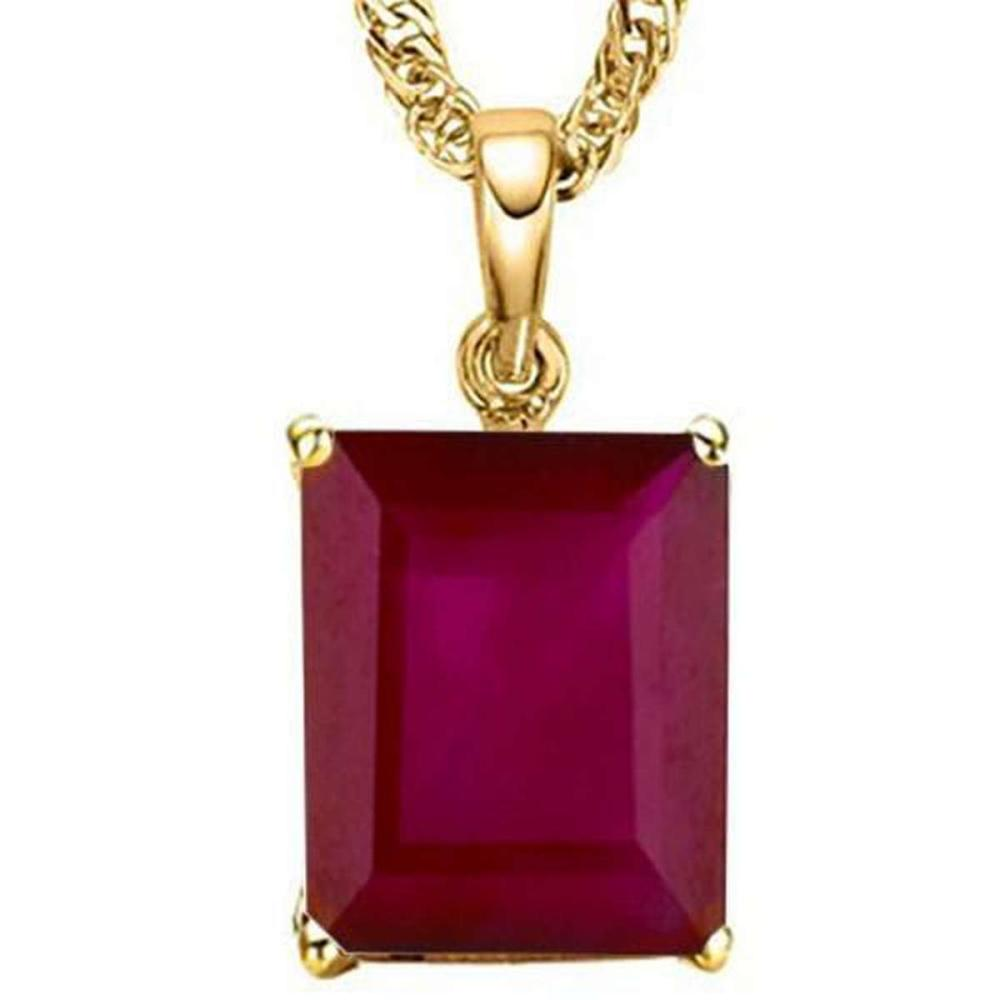1.4 CTW RUBY 10K SOLID YELLOW GOLD OCTWAGON SHAPE PENDANT #IRS36931