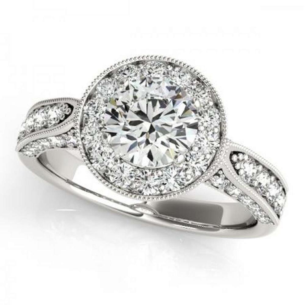 CERTIFIED PLATINUM 1.17 CTW G-H/VS-SI1 DIAMOND HALO ENGAGEMENT RING  #IRS86171