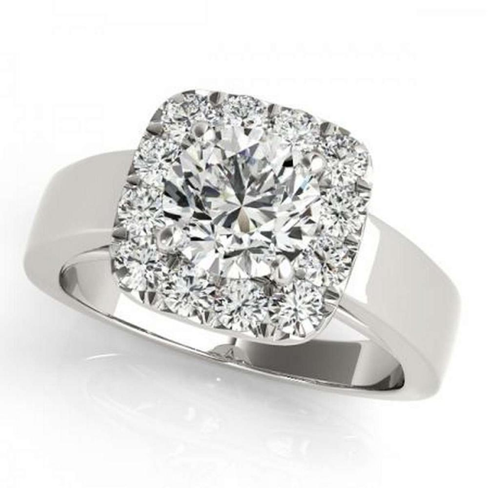 Lot 9114102: CERTIFIED PLATINUM 1.08 CTW G-H/VS-SI1 DIAMOND HALO ENGAGEMENT RING #IRS86181