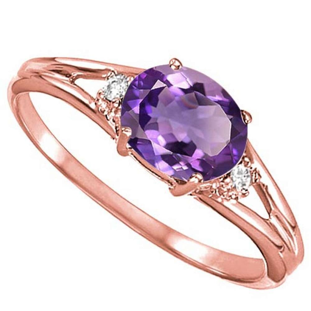 0.44 CARAT AMETHYST & 0.02 CTW DIAMOND 10KT SOLID RED GOLD RING #IRS76976