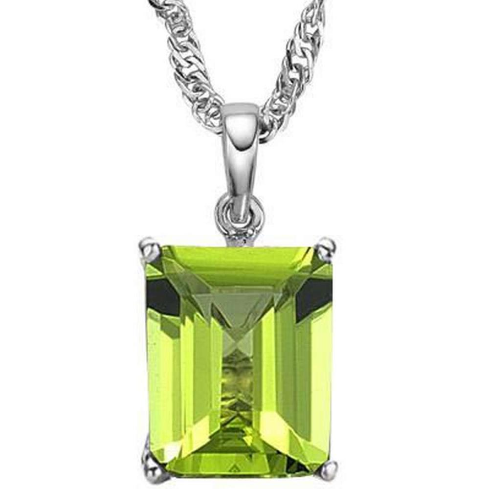 Lot 9114104: 1.15 CTW PERIDOT 10K SOLID WHITE GOLD SQUARE SHAPE PENDANT #IRS36884