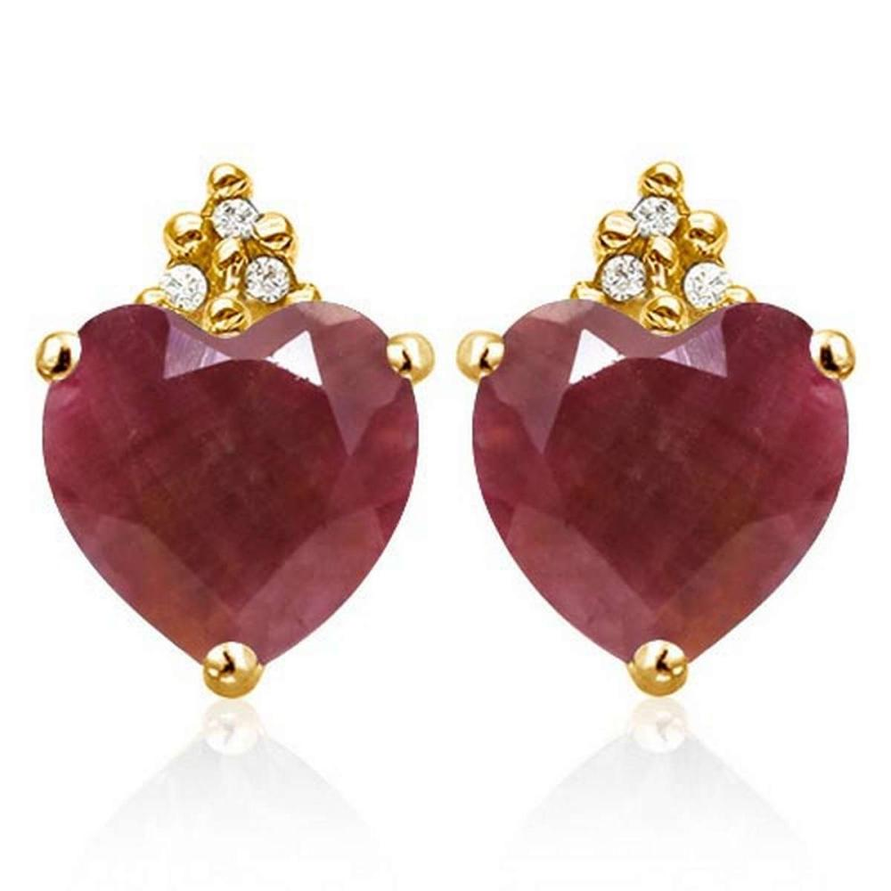 1.95 CARAT RUBY 10K SOLID YELLOW GOLD HEART SHAPE EARRING WITH 0.03 CTW DIAMOND #IRS50304