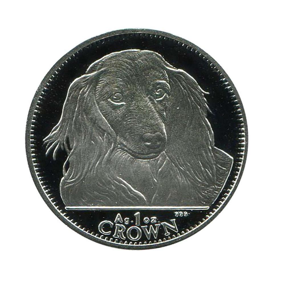 Lot 9114106: Gibraltar One Ounce Royal Silver Crown 1993 Long-Haired Dachshund #IRS95909