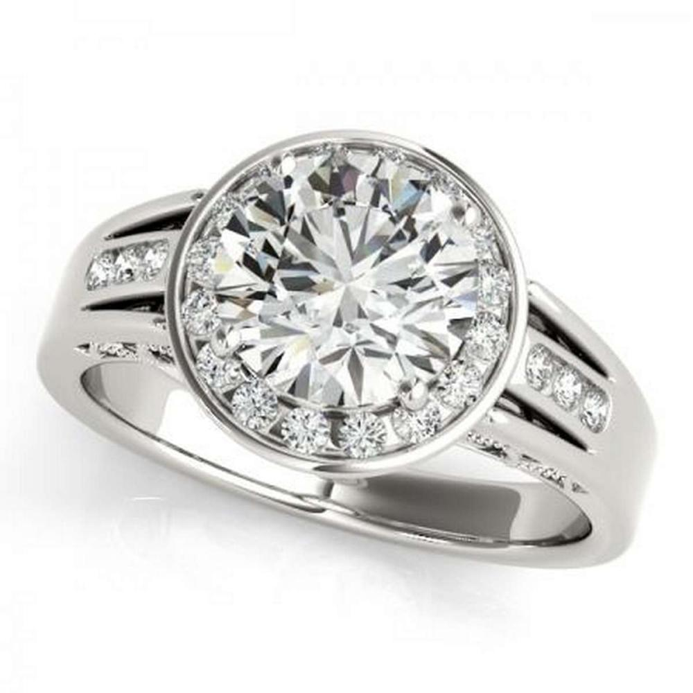 Lot 9114114: CERTIFIED PLATINUM .77 CTW G-H/VS-SI1 DIAMOND HALO ENGAGEMENT RING #IRS86197