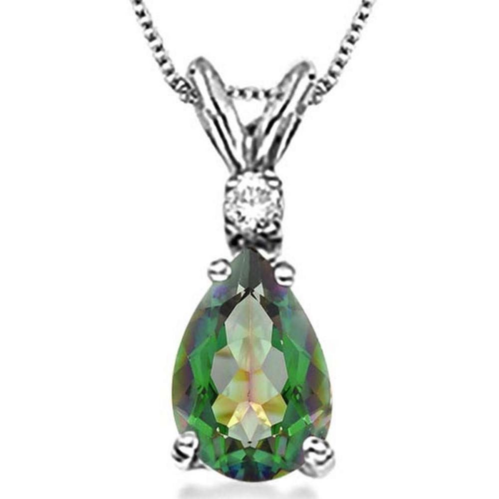 0.62 CARAT GREEN MYSTIC QUARTZ & 0.01 CTW DIAMOND 14KT SOLID WHITE GOLD PENDANT #IRS77073