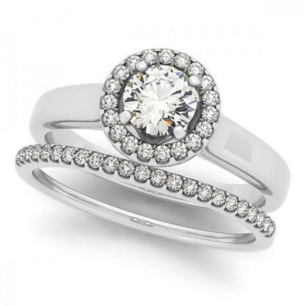 CERTIFIED PLATINUM 1.21 CTW G-H/VS-SI1 DIAMOND HALO BRIDAL SET #IRS86720