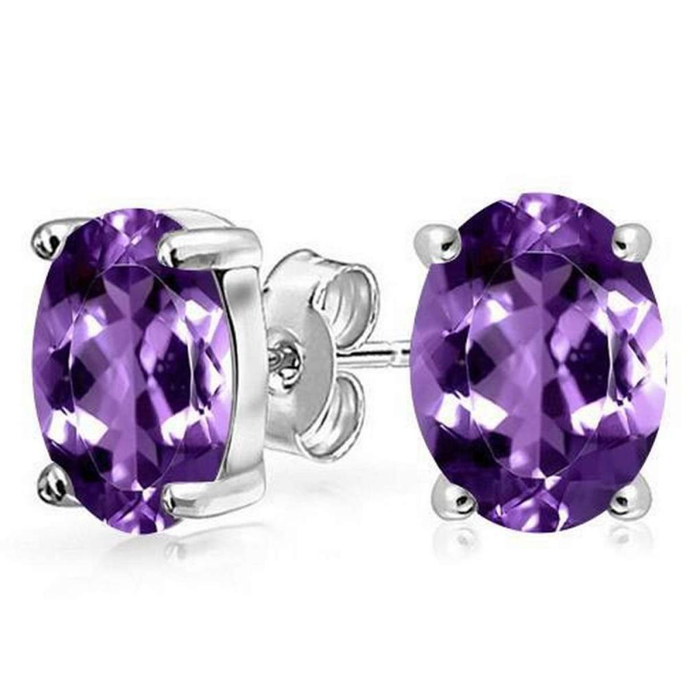 1.6 CTW AMETHYST 10K SOLID YELLOW GOLD OVAL SHAPE EARRING #IRS37011
