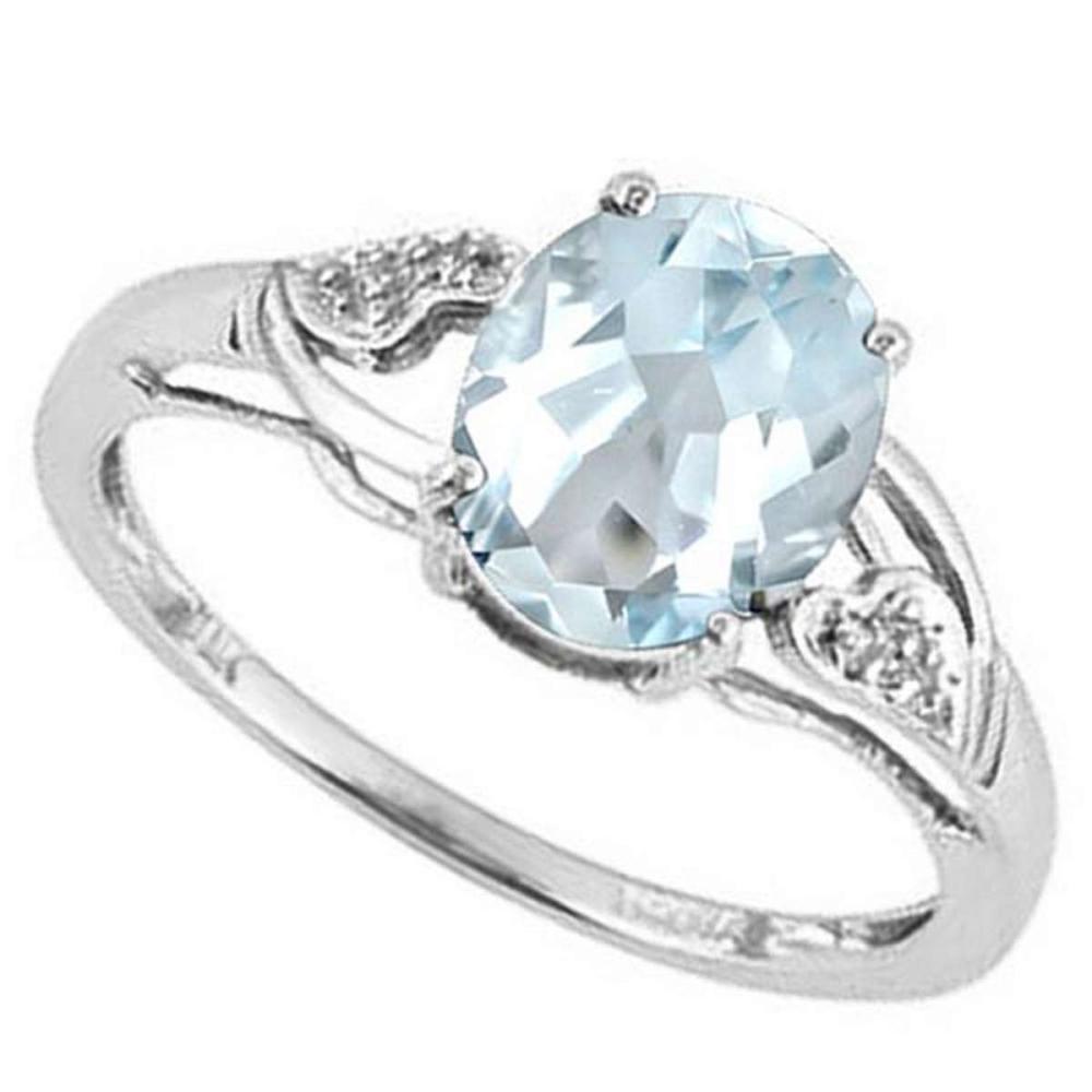 1.2 CTW AQUAMARINE & DIAMOND 10KT SOLID GOLD RING #IRS50775