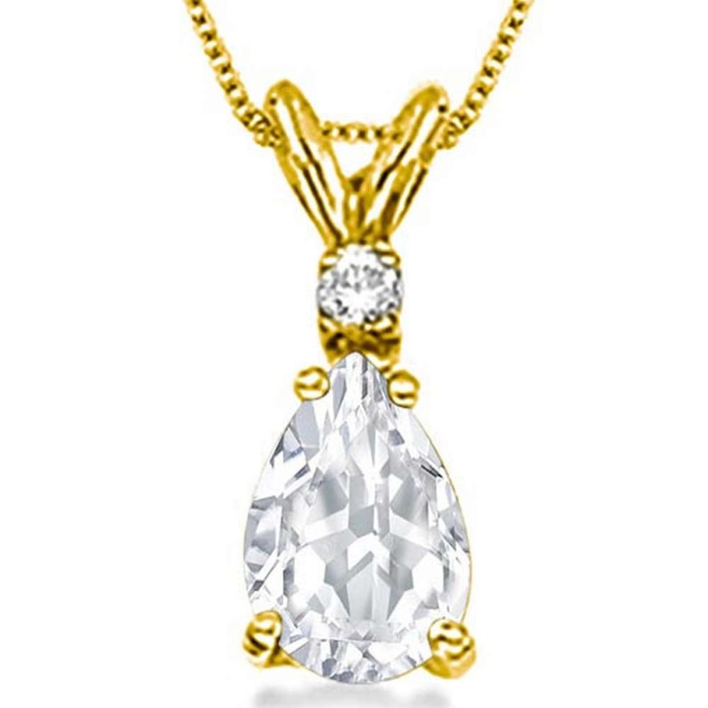 Lot 9114133: 0.75 CARAT WHITE TOPAZ & 0.01 CTW DIAMOND 14KT SOLID YELLOW GOLD PENDANT #IRS77062