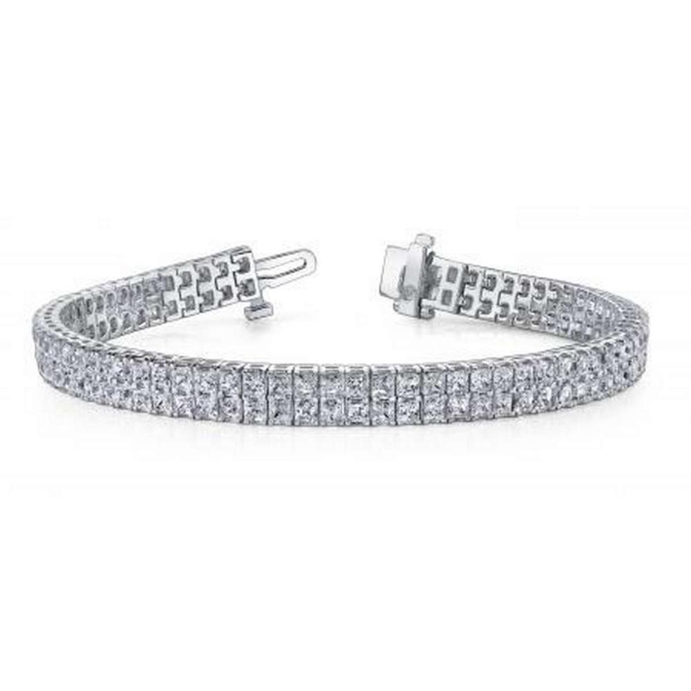 Lot 9114137: 14KT WHITE GOLD 8 CTW G-H SI2/SI3 ENDLESS DREAMS PRINCESS CUT TENNIS BRACELET #IRS20286