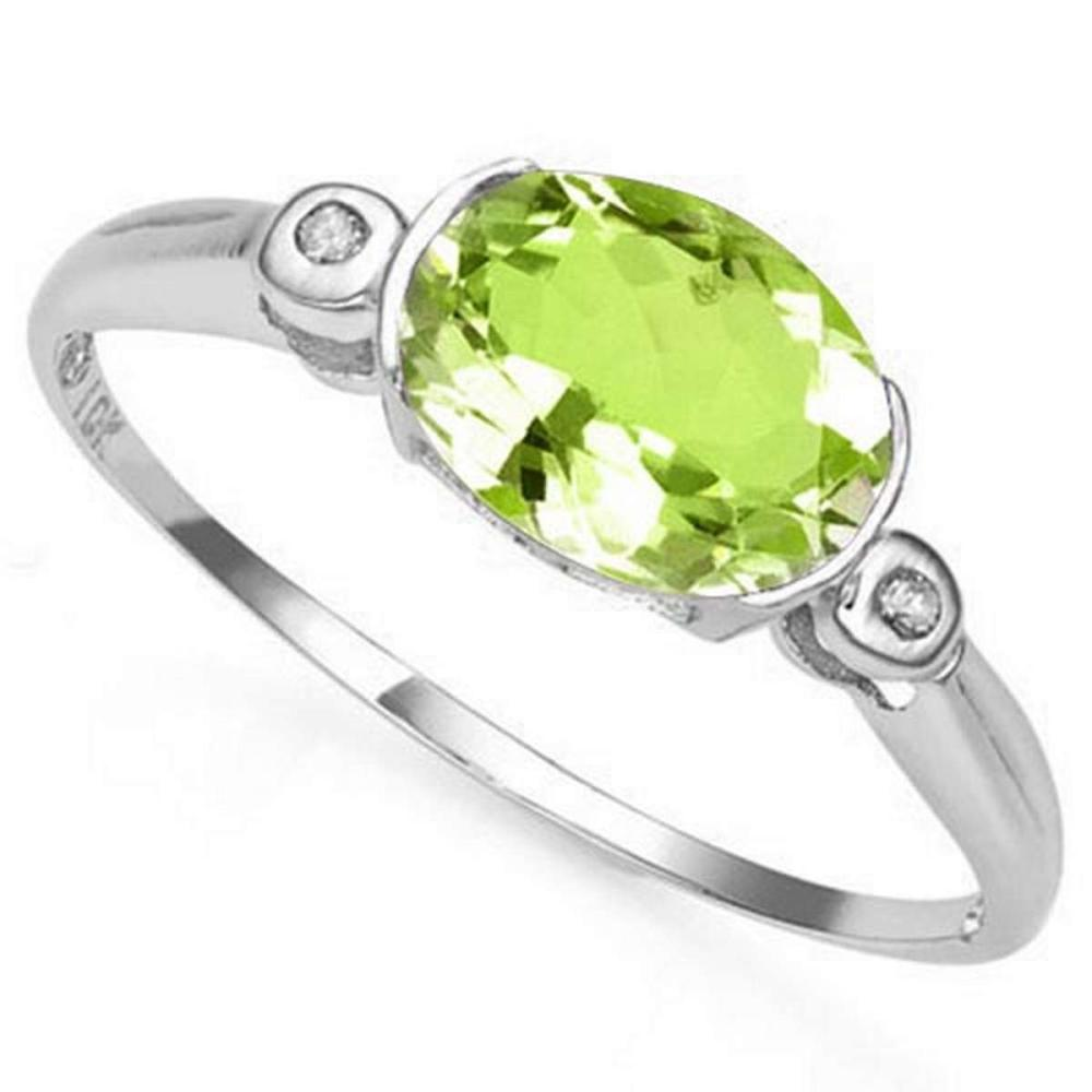 Lot 9114139: 1.0 CTW PERIDOT & GENUINE DIAMOND 10K SOLID WHITE GOLD RING #IRS50780