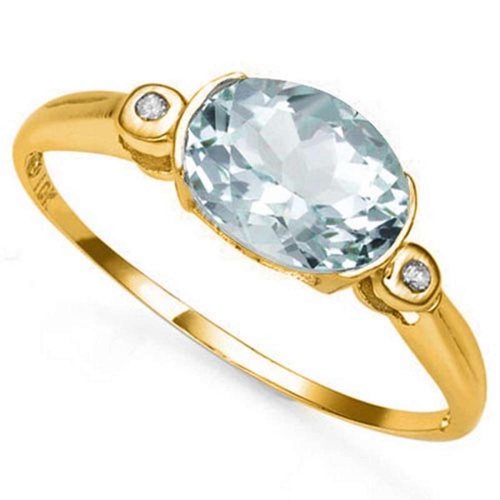 0.95 CTW AQUAMARINE & GENUINE DIAMOND 10K SOLID YELLOW GOLD RING #IRS50786