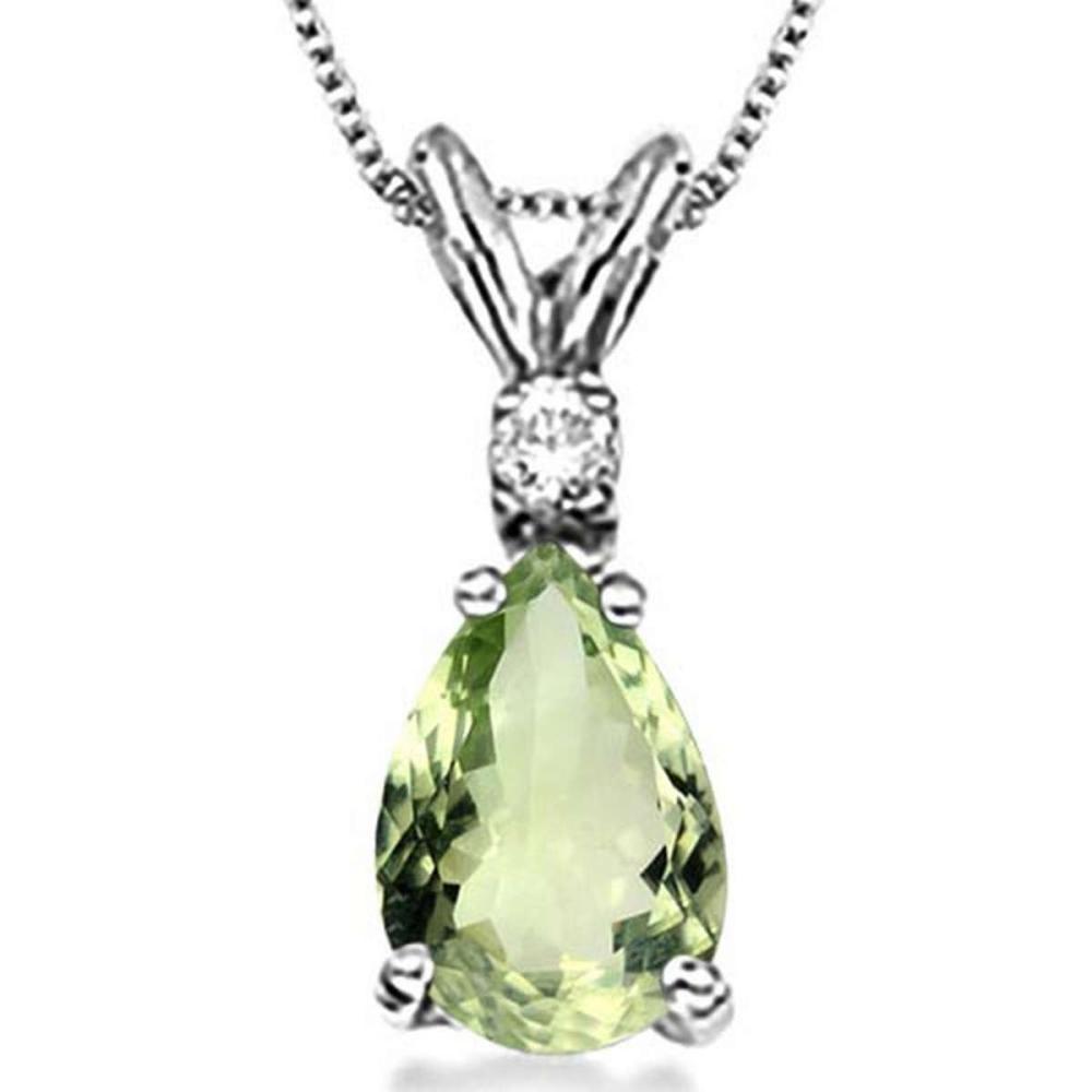 0.64 CARAT GREEN AMETHYST & 0.01 CTW DIAMOND 14KT SOLID WHITE GOLD PENDANT #IRS77074