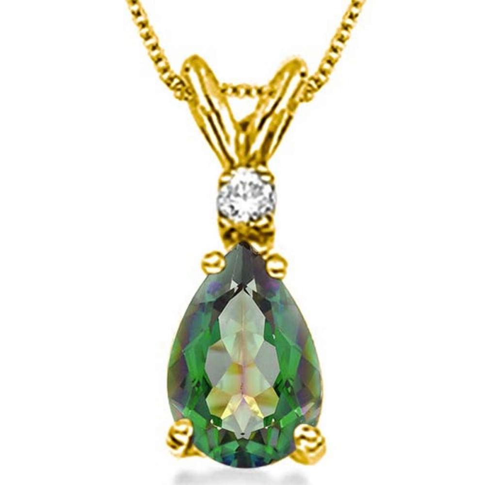 0.62 CARAT GREEN MYSTIC QUARTZ & 0.01 CTW DIAMOND 14KT SOLID YELLOW GOLD PENDANT #IRS77059