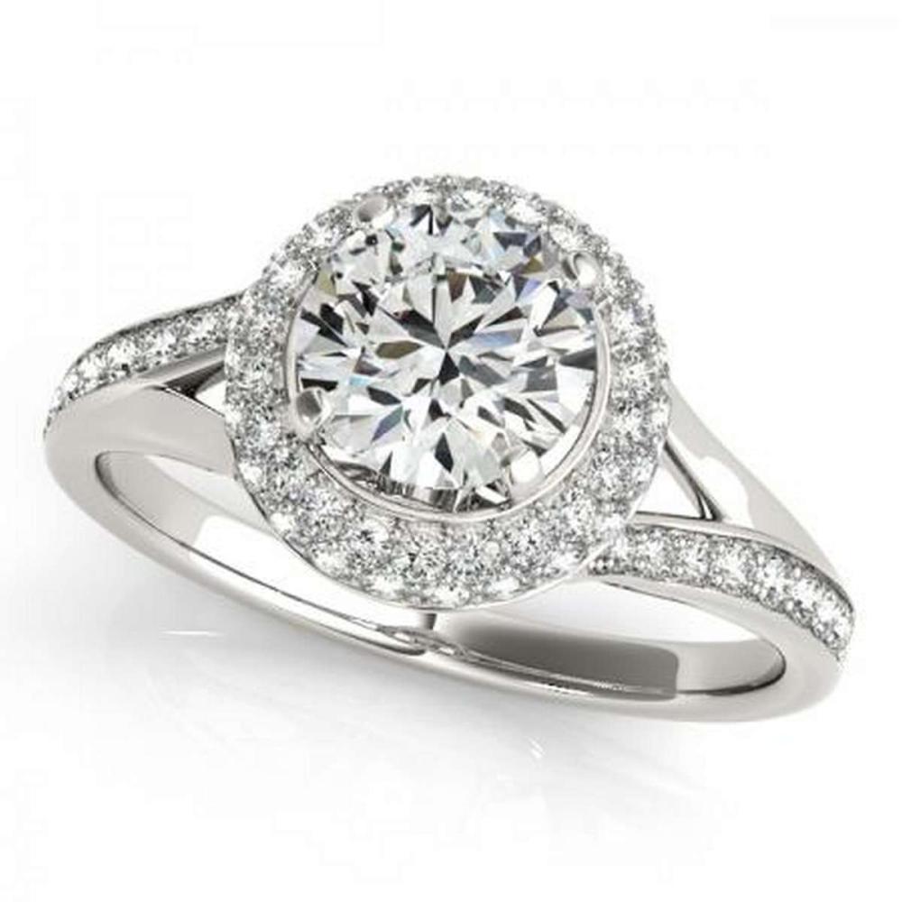 CERTIFIED PLATINUM 0.97 CTW G-H/VS-SI1 DIAMOND HALO ENGAGEMENT RING #IRS86186