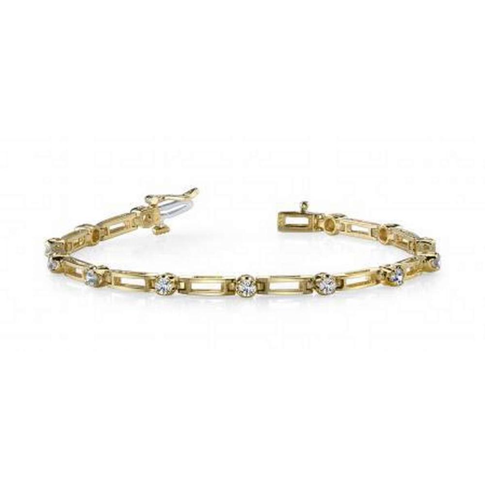 14KT YELLOW GOLD .50 CTW G-H SI2/SI3 DIAMOND BOX LINK BRACELET #IRS20202