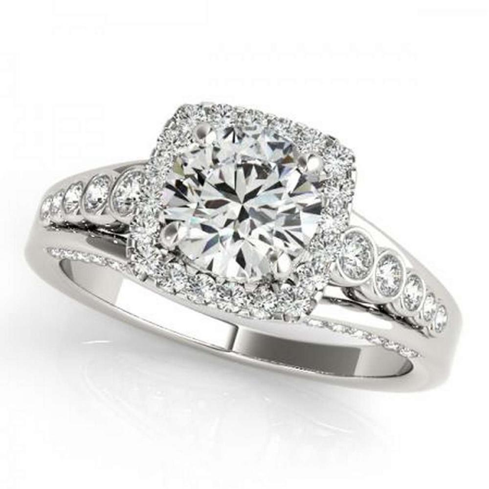 Lot 9114152: CERTIFIED PLATINUM 1.02 CTW G-H/VS-SI1 DIAMOND HALO ENGAGEMENT RING #IRS86211