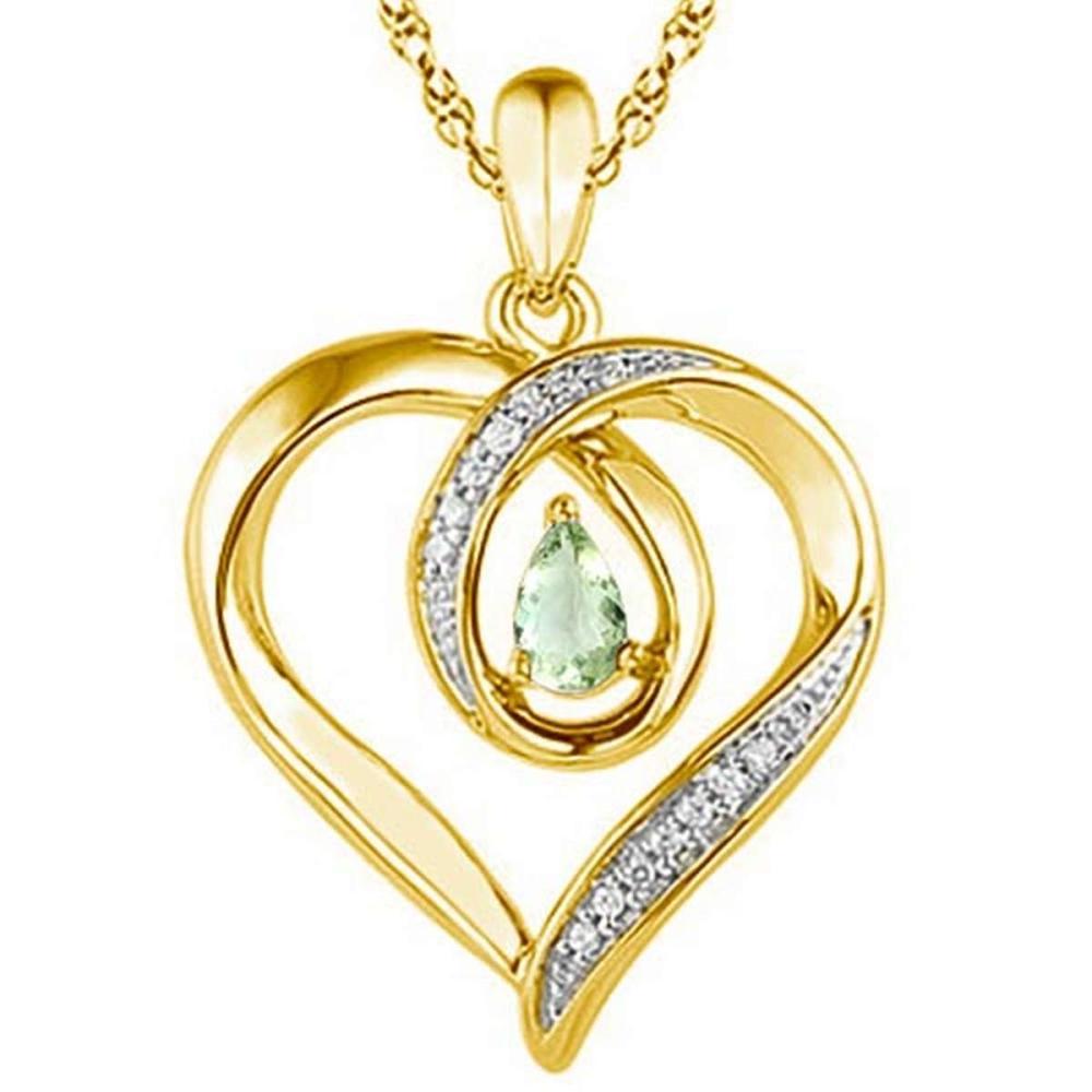 Lot 9114154: 0.36 CARAT GREEN AMETHYST & CZ 14KT SOLID YELLOW GOLD PENDANT #IRS77088