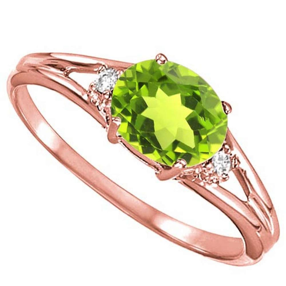 0.48 CARAT PERIDOT & 0.02 CTW DIAMOND 10KT SOLID RED GOLD RING #IRS76982