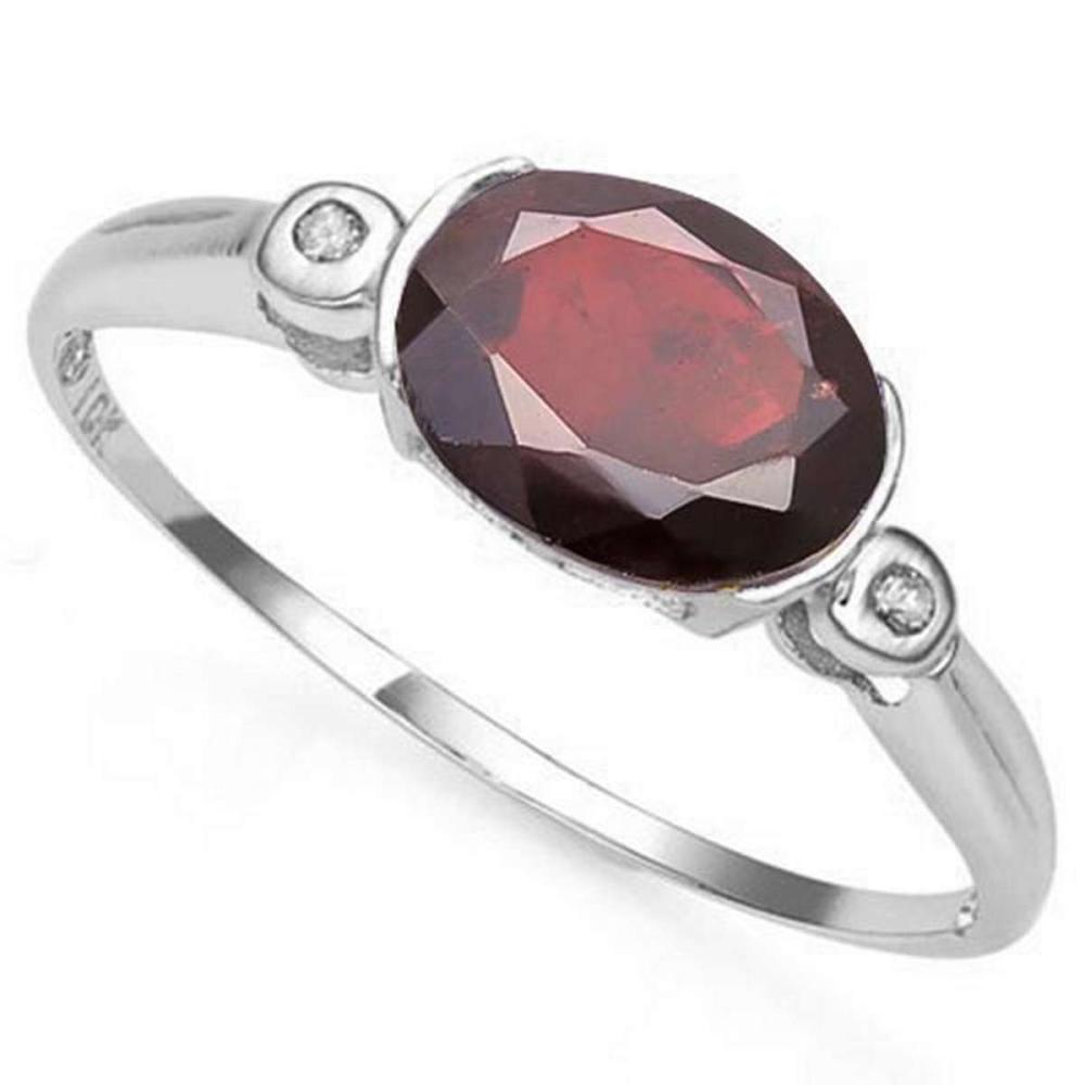 Lot 9114164: 1.3 CTW GARNET & GENUINE DIAMOND 10K SOLID WHITE GOLD RING #IRS50778