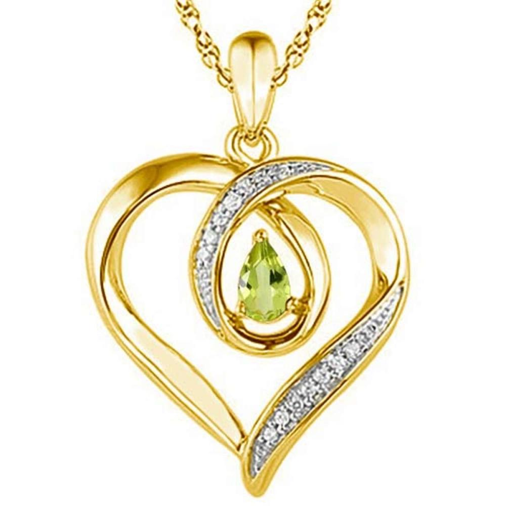 Lot 9114167: 0.42 CARAT PERIDOT & CZ 14KT SOLID YELLOW GOLD PENDANT #IRS77089