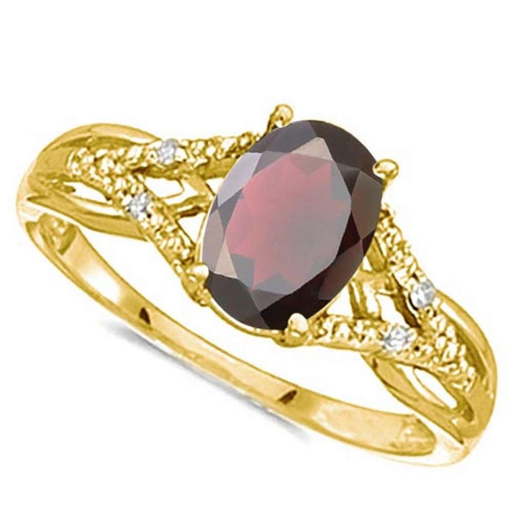 0.85 CARAT GARNET & 0.04 CTW DIAMOND 14KT SOLID YELLOW GOLD RING #IRS76922