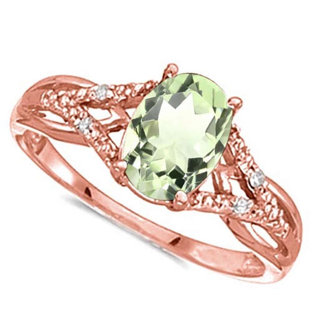 0.78 CARAT GREEN AMETHYST & 0.04 CTW DIAMOND 14KT SOLID RED GOLD RING #IRS76939