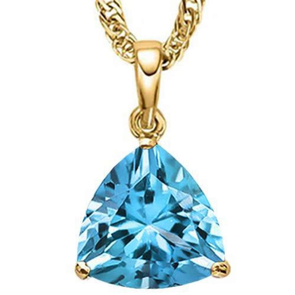 Lot 9114172: 0.95 CTW SKY BLUE TOPAZ 10K SOLID YELLOW GOLD TRILLION SHAPE PENDANT #IRS37005