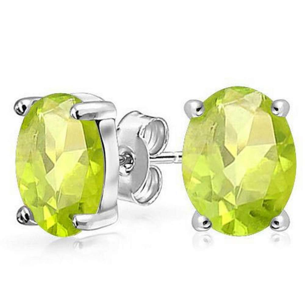 1.6 CTW PERIDOT 10K SOLID YELLOW GOLD OVAL SHAPE EARRING #IRS37014