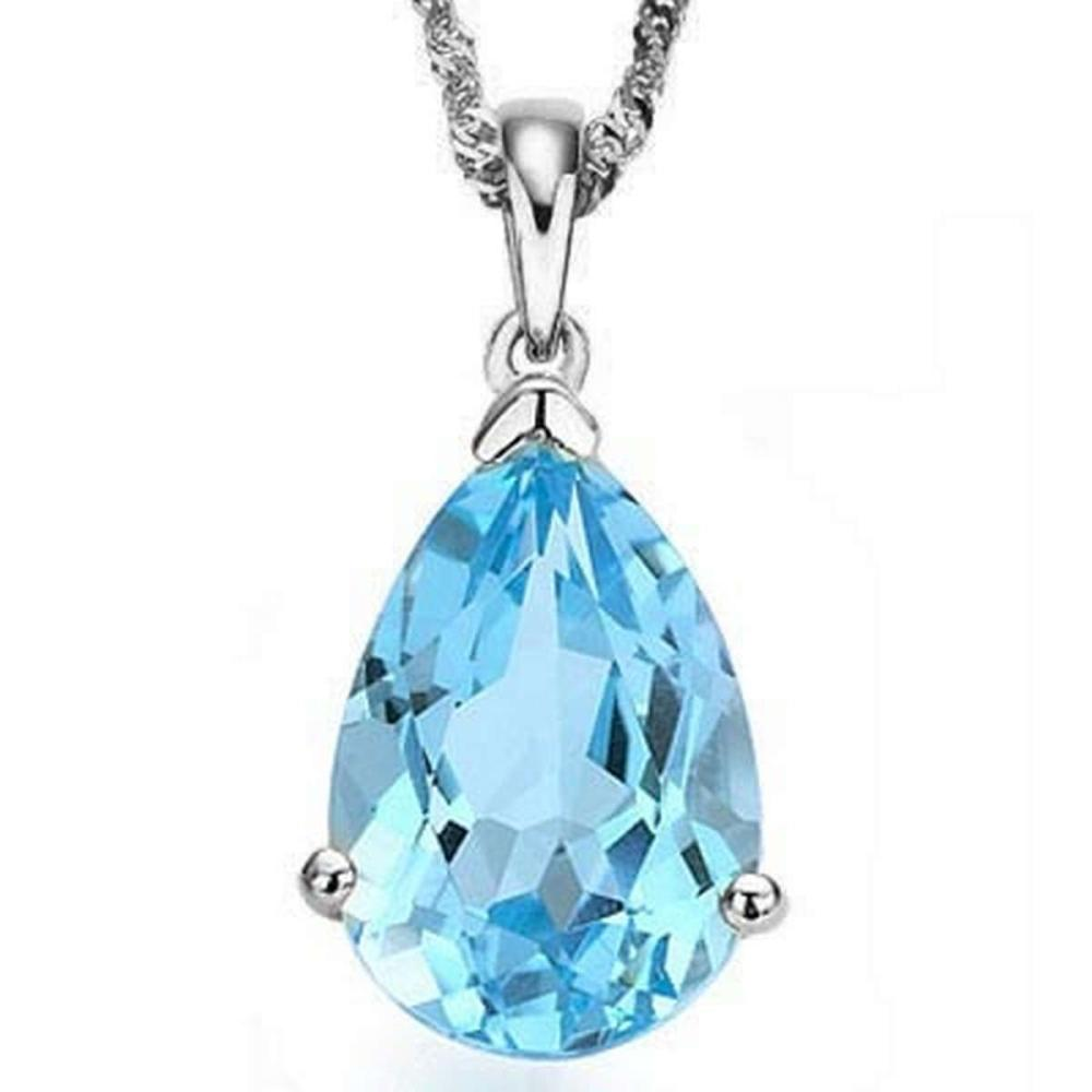Lot 9114178: 0.9 CTW SKY BLUE TOPAZ 10K SOLID WHITE GOLD PEAR SHAPE PENDANT #IRS36864