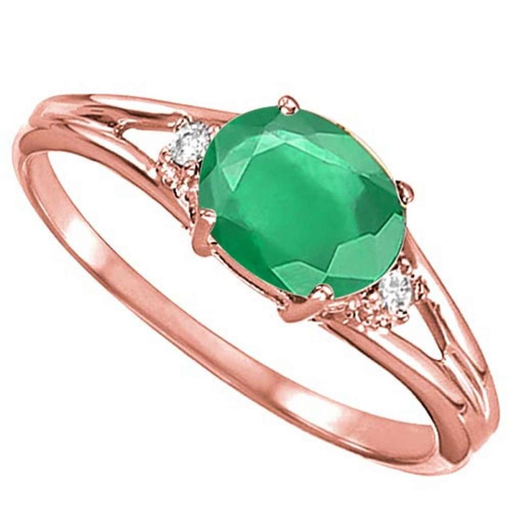 0.43 CARAT EMERALD & 0.02 CTW DIAMOND 10KT SOLID RED GOLD RING #IRS76975
