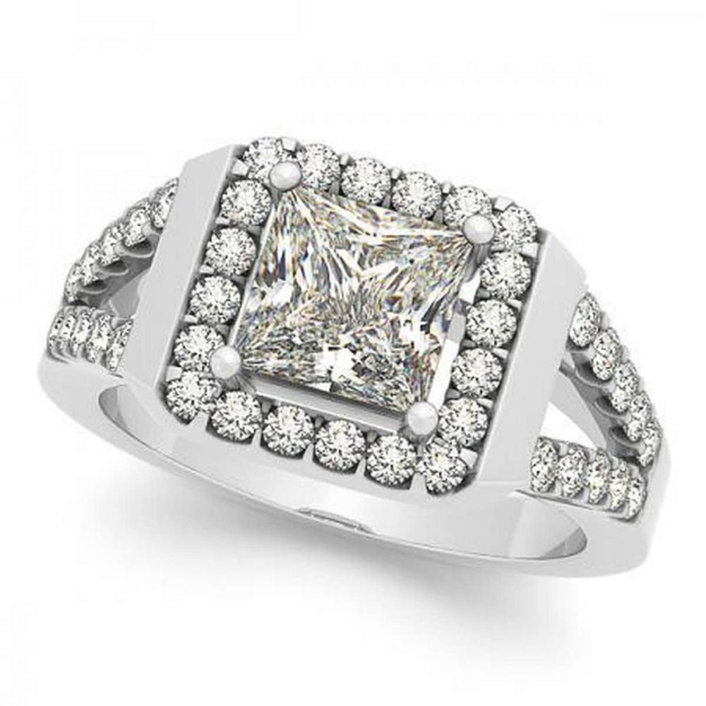 Lot 9114181: CERTIFIED PLATINUM 1.10 CTW G-H/VS-SI1 DIAMOND HALO ENGAGEMENT RING #IRS86718