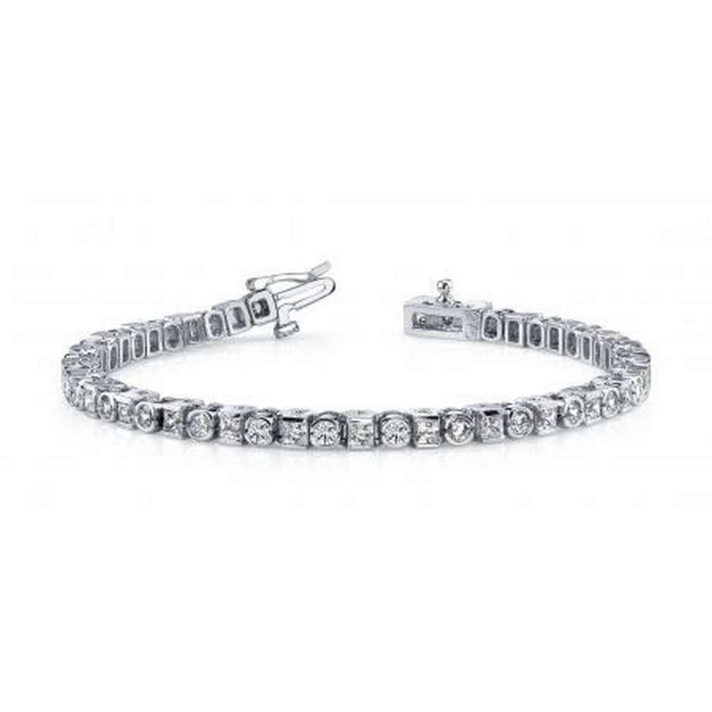 Lot 9114188: 14KT WHITE GOLD 4 CTW G-H SI2/SI3 PRINCESS AND ROUND DIAMOND TENNIS BRACELET #IRS20203