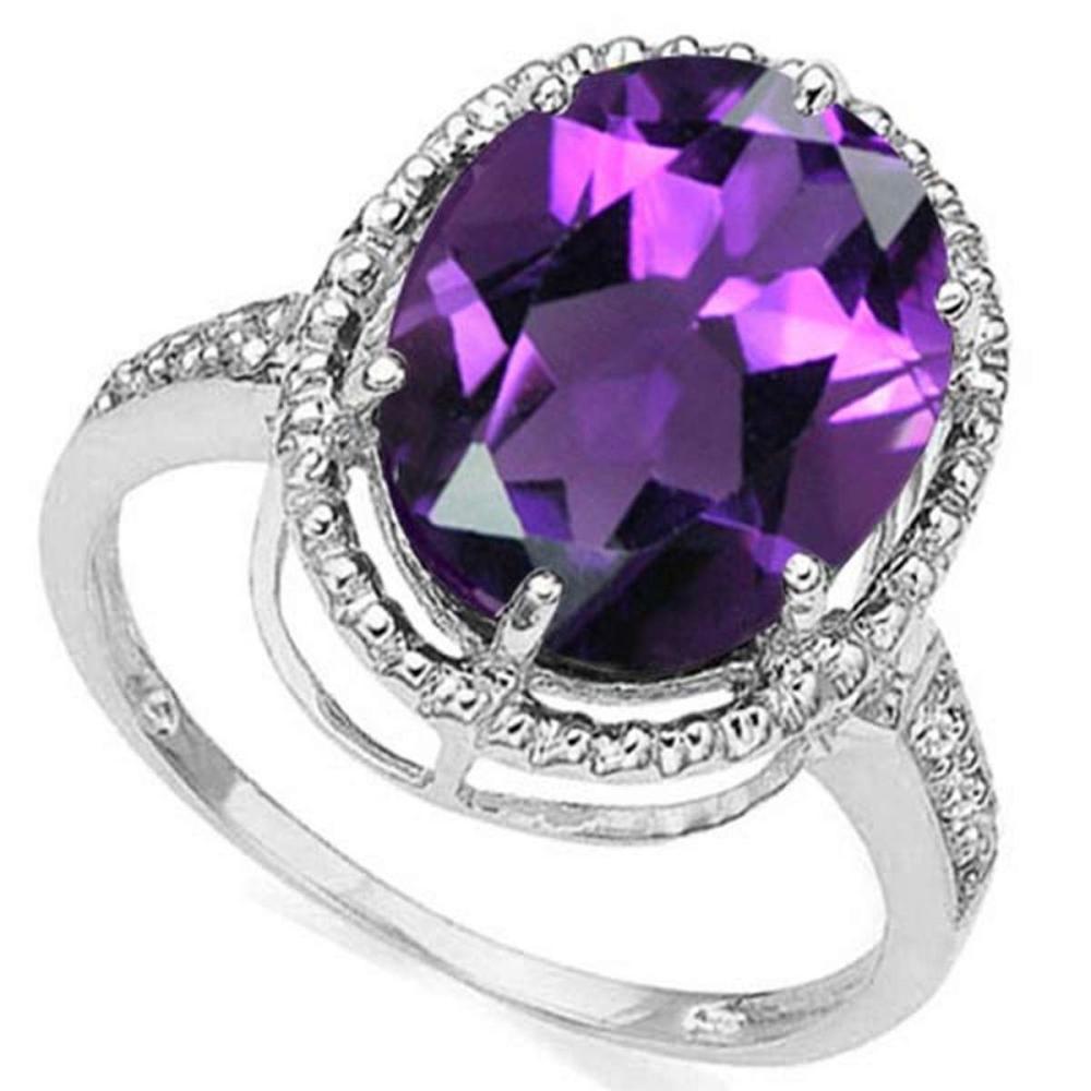 3.76 CTW AMETHYST & DIAMOND 10KT SOLID GOLD RING #IRS50768