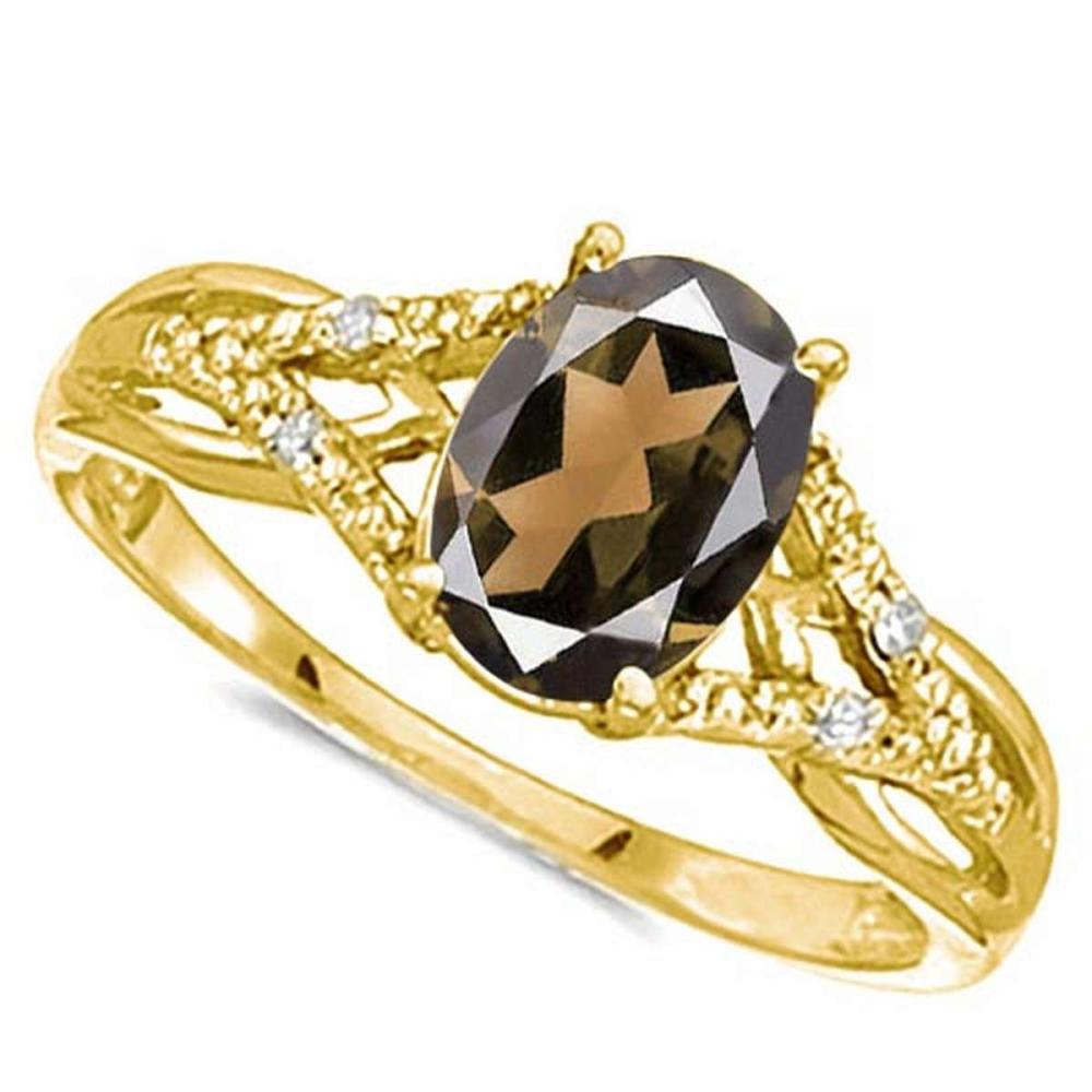 0.72 CARAT SMOKEY QUARTZ & 0.04 CTW DIAMOND 14KT SOLID YELLOW GOLD RING #IRS76928