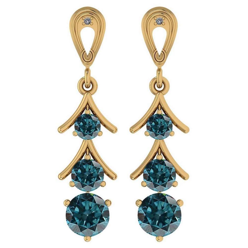 Certified 1.62 Ctw Treated Fancy Blue Diamond I1/I2 And White Daimond VS/SI1 18k Yellow Gold Dangling Earrings #IRS25470