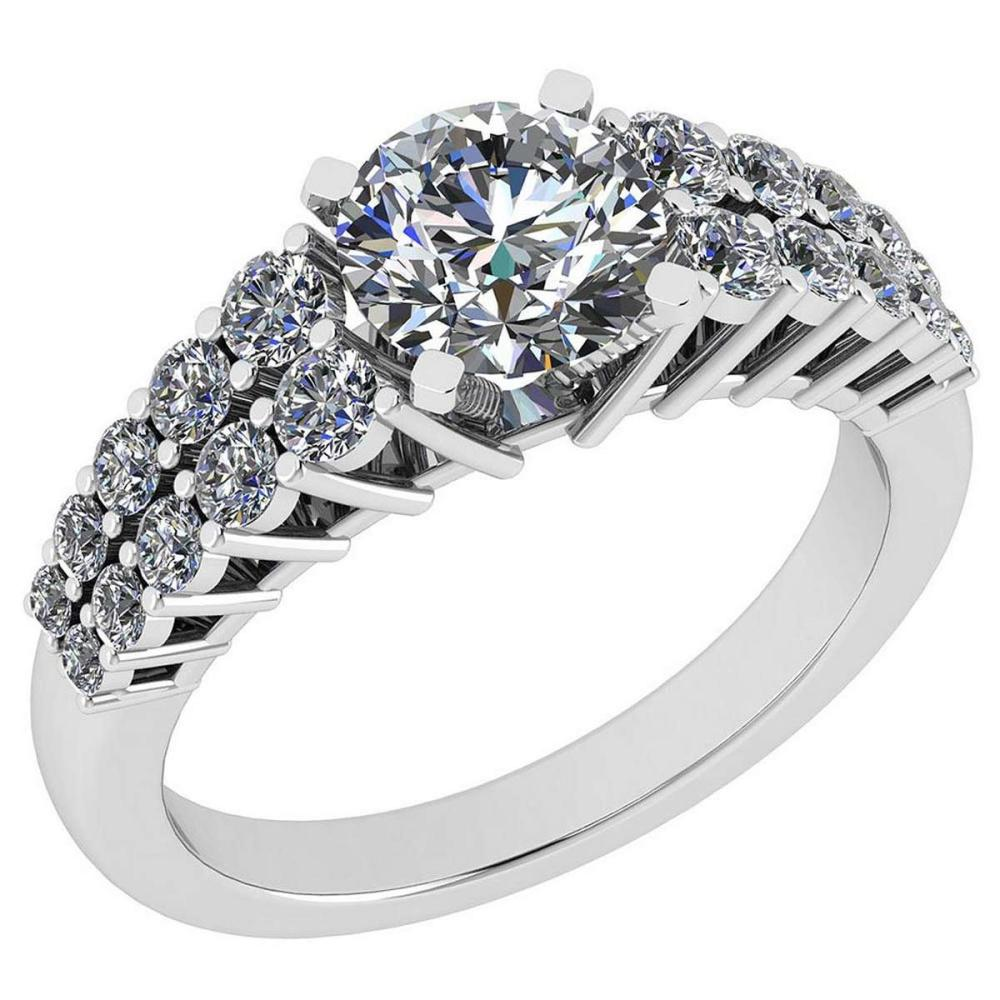 Certified 1.97 Ctw Diamond SI2/I1 Platinum Halo Ring size: 4.5 to 9 free Ring Sizing available #IRS26398