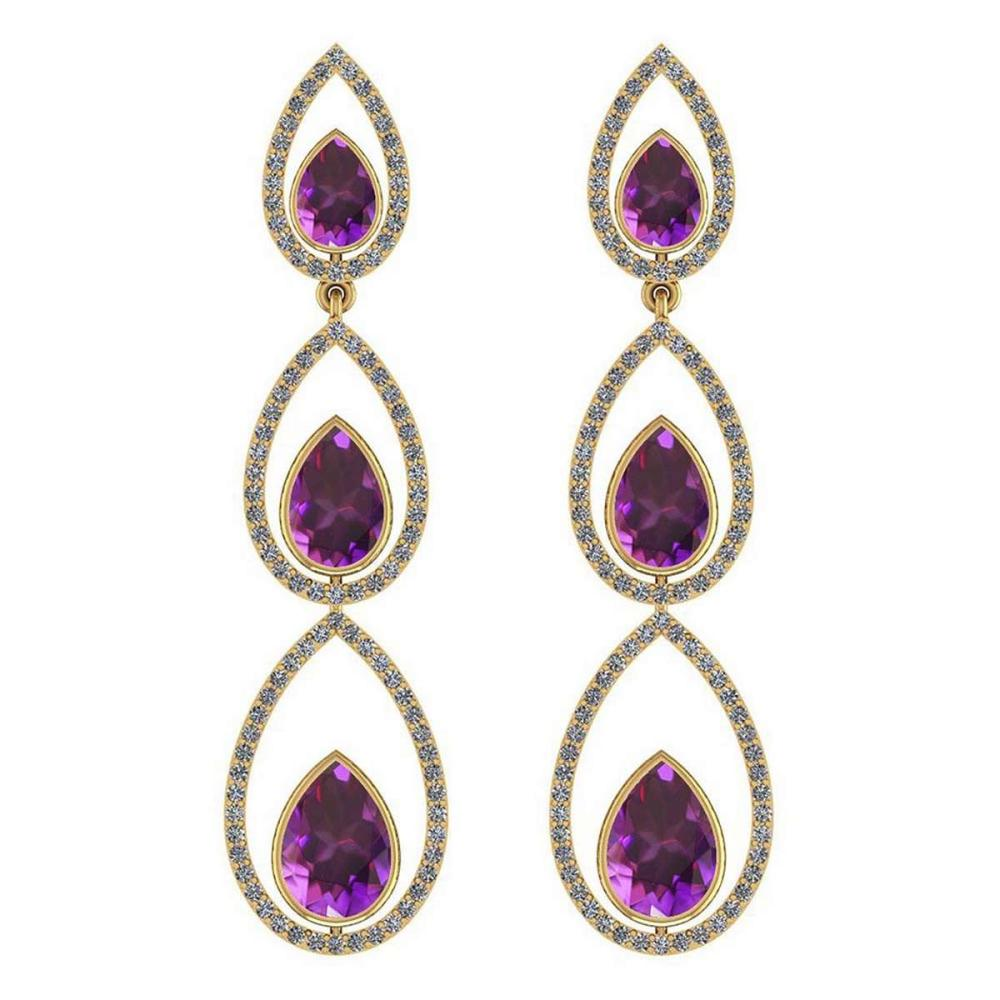Certified 5.48 Ctw Amethyst And Diamond VS/SI1 14K Yellow Gold Dangling Earrings #IRS27072