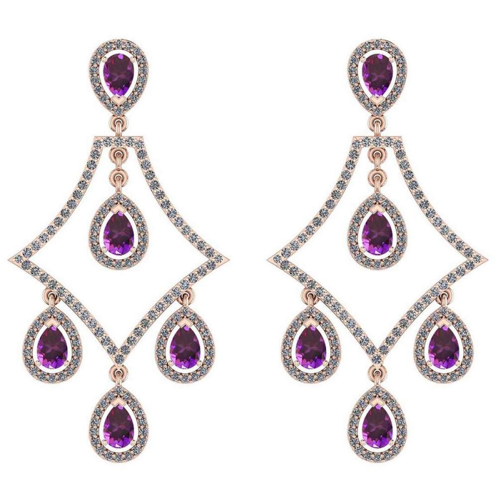 Certified 5.44 Ctw Amethyst And Diamond VS/SI1 14K Rose Gold Dangling Earrings #IRS27080