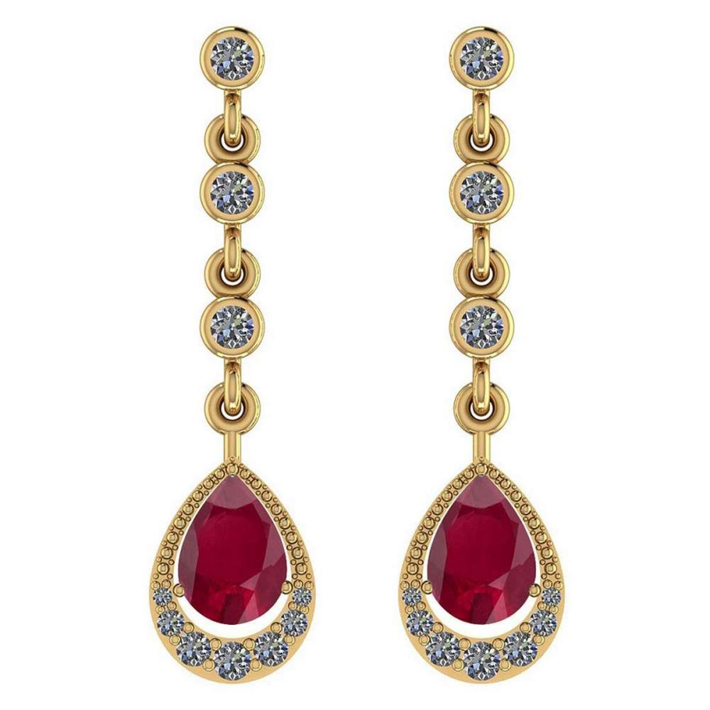 Certified 2.30 Ctw Ruby And Diamond VS/SI1 18K Yellow Gold Dangling Earrings #IRS27275