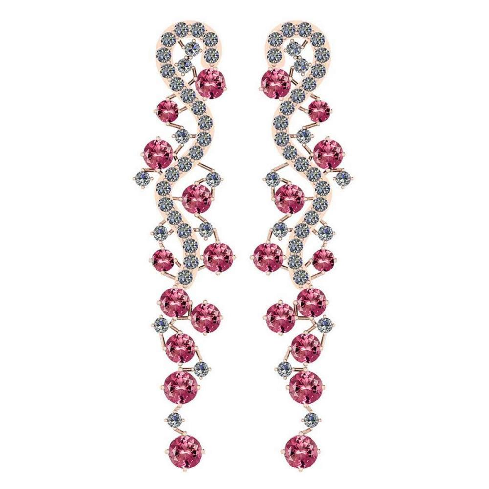 Certified 7.02 Ctw Pink Tourmaline And Diamond VS/SI1 18K Rose Gold Dangling Earrings #IRS25472