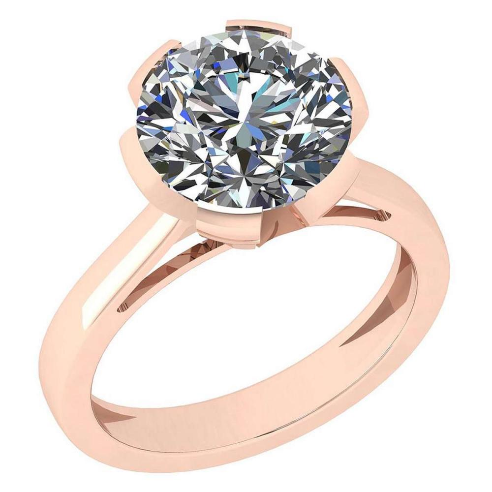 Certified 2.00 Ctw Diamond SI2/I1 14K Rose Gold Solitaire Ring #IRS26348