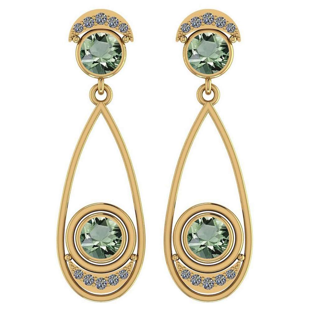 Certified 2.97 Ctw Green Amethyst And Diamond VS/SI1 14K Yellow Gold Dangling Earrings #IRS25813
