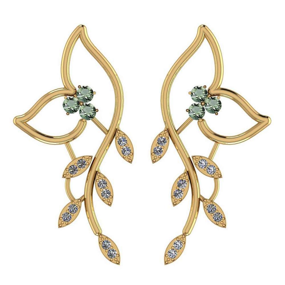 1.51 Ctw Green Amethyst And Diamond VS/SI1 14K Yellow Gold Earrings #IRS25837