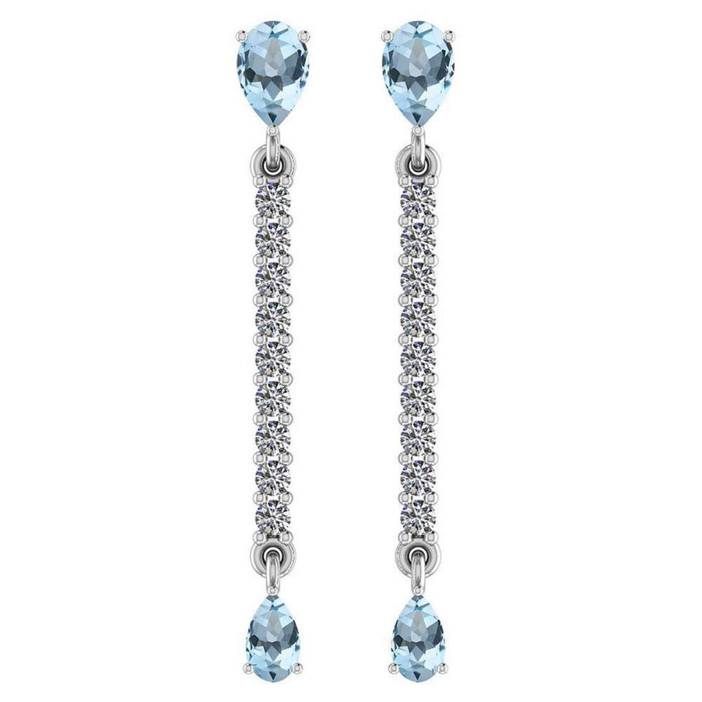 Certified 2.45 Ctw Blue Topaz And Diamond VS/SI1 14K White Gold Dangling Earrings #IRS27140