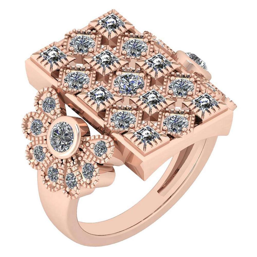 Certified 1.38 Ctw Diamond VS/SI1 Antique Styles 10K Rose Gold Ring Made In USA #IRS24345