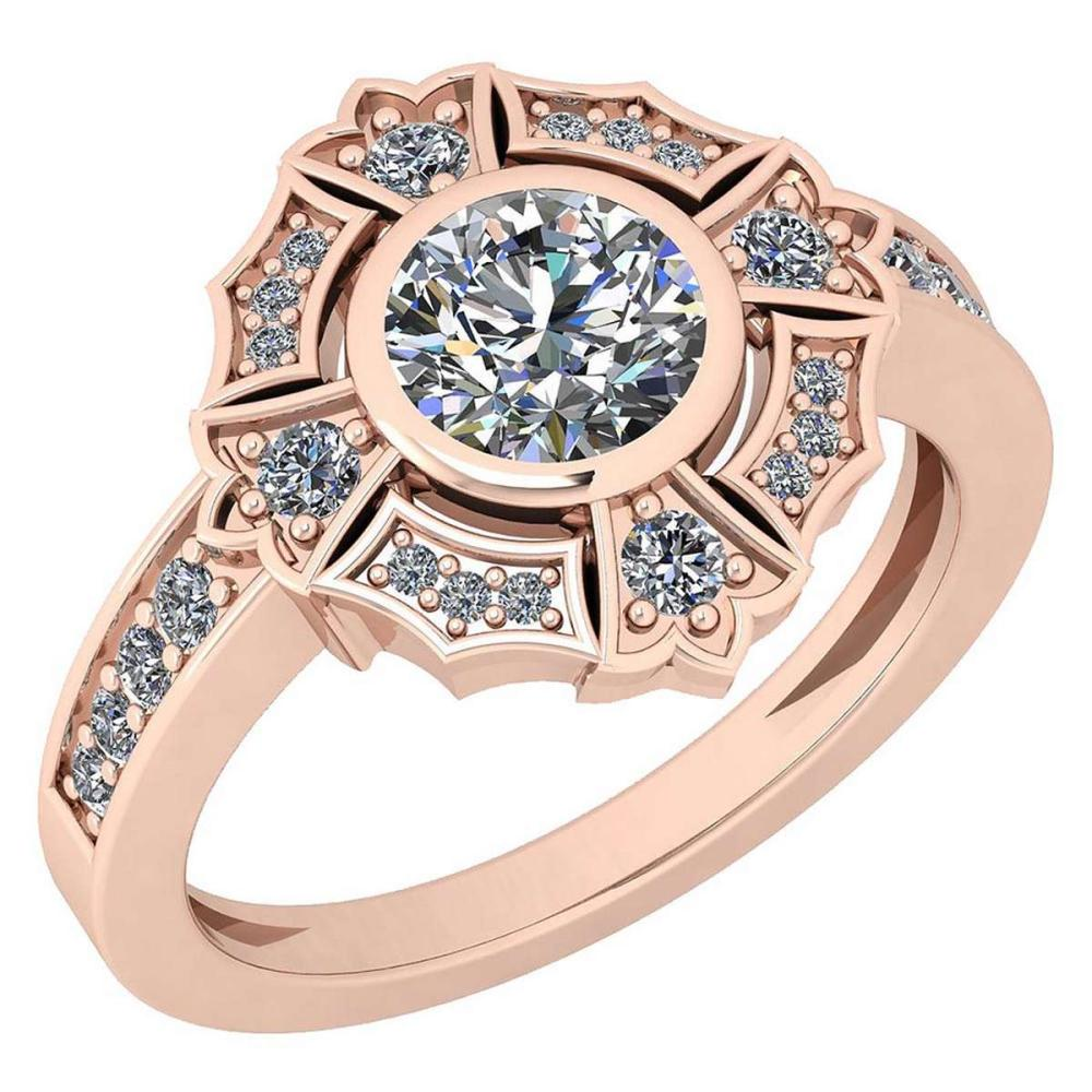 Certified 1.15 Ctw Diamond SI1/SI2 18K Rose Gold Halo Ring #IRS25596